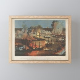 The Splendid Naval Triumph on the Mississippi, April 24th, 1862  Destruction of the Rebel Gunboats, Framed Mini Art Print