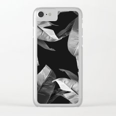 Tropical Palm Print Black and White Clear iPhone Case