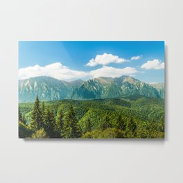 Carpathian Mountains Landscape, Summer Travel Landscape, Transylvania Mountains, Forests Of Romania Metal Print