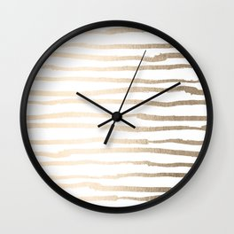 White Gold Sands Painted Lines Wall Clock