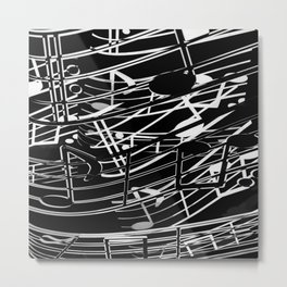 music note sign abstract background in black and white Metal Print