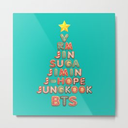 BTS Members X-mas Tree: Happy Christmas!! Metal Print