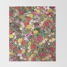 Maximalist Shabby Chic Lush Floral Throw Blanket