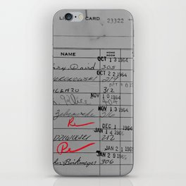 Library Card 23322 Gray iPhone Skin