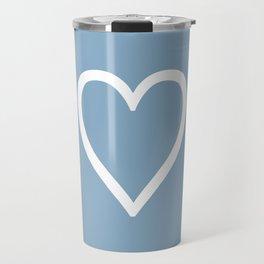 Heart sign on placid blue background Travel Mug