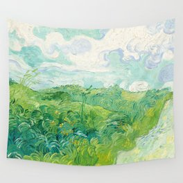 Green Wheat Fields - Auvers, by Vincent van Gogh Wall Tapestry