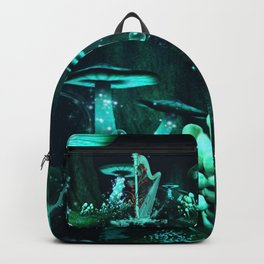 Wonderful harp  in a mushroom forest with tree of hearts Backpack