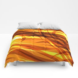 Saturated gold and smooth sparkling lines of metal ribbons on the theme of space and abstraction. Comforters