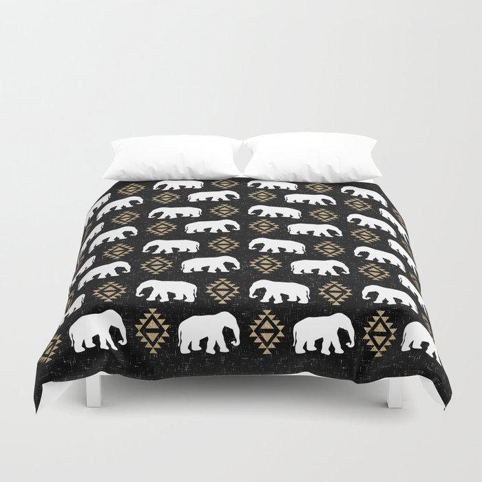 Elephant modern pattern print black gold glitter minimal with tribal influence gender neutral Duvet Cover