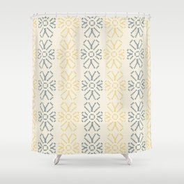 Embroidered flowers yellow and grey pattern Shower Curtain