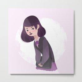 Japanese Schoolgirl Doodle Metal Print