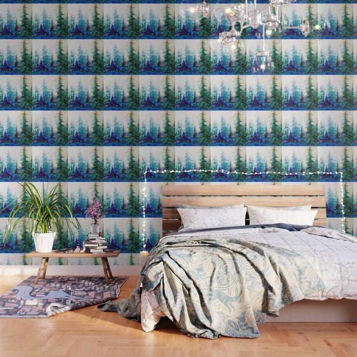 BLUE MOUNTAIN PINES LANDSCAPE Wallpaper
