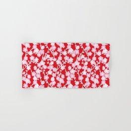 Red Cherry Blossom Pattern Hand & Bath Towel