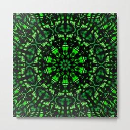Green and Black Kaleidoscope Metal Print