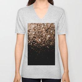 Dark Night Brown Black Glitter #1 (Faux Glitter) #shiny #decor #art #society6 Unisex V-Neck