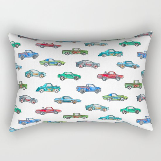 Little Toy Cars in Watercolor on White Rectangular Pillow