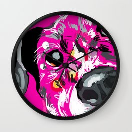 Pink Dog Portrait Wall Clock