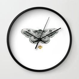 Perseverance - Moth Graphite Drawing by Brooke Figer Wall Clock