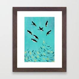 Penguins Playing Framed Art Print