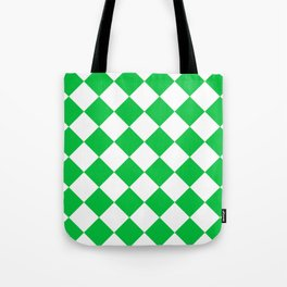 Large Diamonds - White and Dark Pastel Green Tote Bag