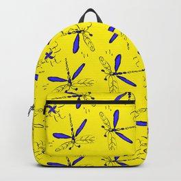 Blue Dragonflys On Gold Back Backpack