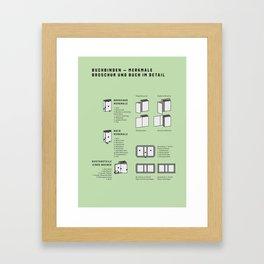 Buchbinden – Merkmale Broschur und Buch im Detail (in German) Framed Art Print