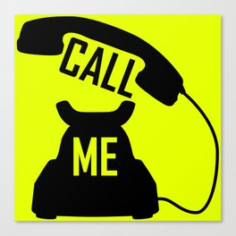 Cool Black Call me Vintage Retro telephone Canvas Print