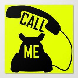 Cool Black Call me Vintage Retro telephone Canvas Print