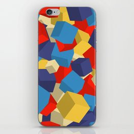 3d colored cubes print iPhone Skin