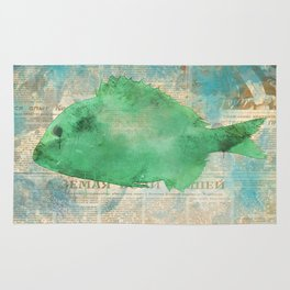 Red and Green Fish - watercolors Rug