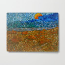 Landscape with wheat sheaves and rising moon Oil on canvas Painting by Vincent van Gogh Metal Print