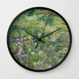 Long Grass with Butterflies by Vincent van Gogh Wall Clock