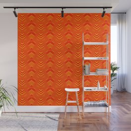 Pattern of intersecting hearts and stripes on an orange background. Wall Mural