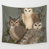 owls Wall Tapestries featuring Owls by Jessica Roux