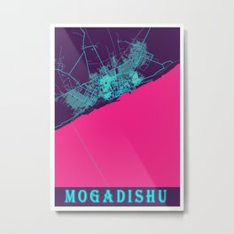 Mogadishu Neon City Map, Mogadishu Minimalist City Map Art Print Metal Print