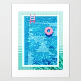 Chillin' - poolside palm springs vacation resort tropical swim swimming retro neon throwback 1980s Kunstdrucke