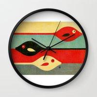 fish Wall Clocks featuring Three Fish in My Mind by Fernando Vieira