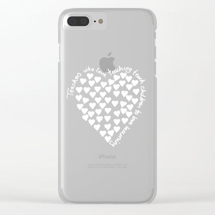 Hearts Heart Teacher White on Black Clear iPhone Case