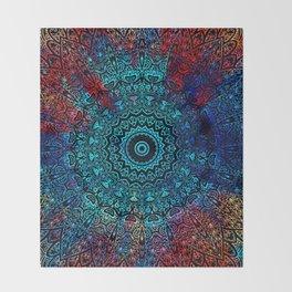 Bohemian Passion Blue & Red Mandala Design Throw Blanket