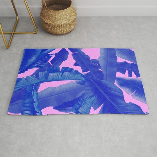 tropical banana leaves pattern,pink,blue by bekimart