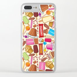 sweets seamless pattern (lollipop, candy cane, pudding in dish, birthday cake with candles) Clear iPhone Case