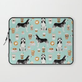 Husky coffee siberian husky owners gifts for dog person dog breed portraits by pet friendly Laptop Sleeve