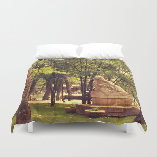 End of summer in park with trees and statue Duvet Cover