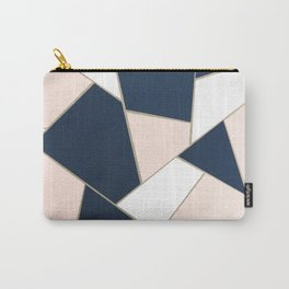 Navy Blue Blush White Gold Geometric Glam #1 #geo #decor #art #society6 Carry-All Pouch