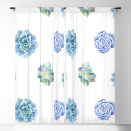 Bue and gren succulents pattern Blackout Curtain