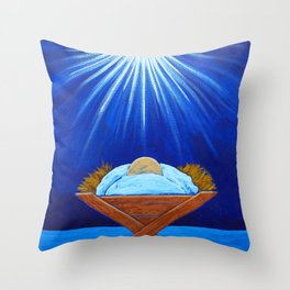 Christmas Baby Jesus in Manger with North Star Throw Pillow