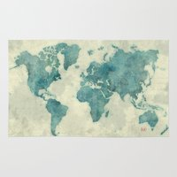 vintage map Area & Throw Rugs featuring World Map Blue Vintage by City Art Posters
