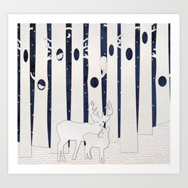 Stag and Fawn in Birch Forest Art Print