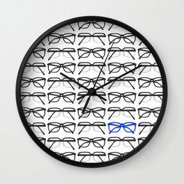 Optometrist Black and Blue Frames Pattern Print Wall Clock