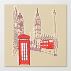 City Life // London Red Telephone Box Canvas Print